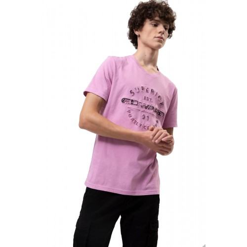 Edward Jeans EMBOS TSHIRT MP-N-TOP-S20-013-WILD ROSE