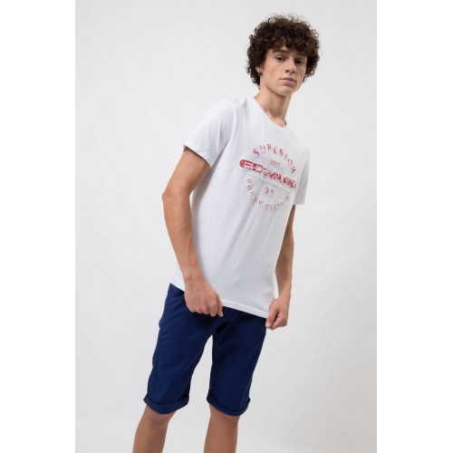 Edward Jeans EMBOS TSHIRT MP-N-TOP-S20-013-WHITE