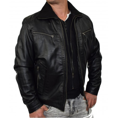 Bersaglio Brayan Leather Jacket BL-10111-01 Black