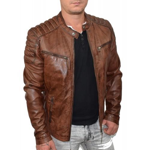 Bersaglio Zalando Leather Jacket BL-20111-18 Cognac
