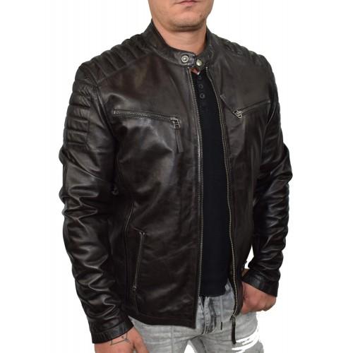 Bersaglio Zalando Leather Jacket BL-20111-02 Dark Brown